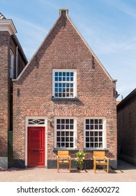 WOUDRICHEM, NETHERLANDS - JUN 4, 2017: Front of house in Hoogstraat in old town of fortified city  Woudrichem, Brabant, Netherlands