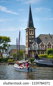 WOUDSEND - JUNE 29: view of the village of Woudsend in The Netherlands on 29 June 2018. Woudsend is a famous watersports destination in the Netherlands with a population of around 1300 people.