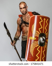 Wounded gladiator with spear and shield