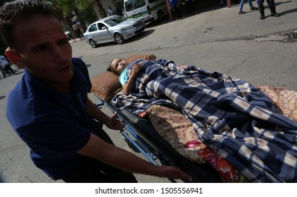 The wounded Palestinians are taking part in a mass casualty maneuver at the European Hospital in preparation for any upcoming war on the Gaza Strip, in the town of Khan Younis, on September 16, 2019.