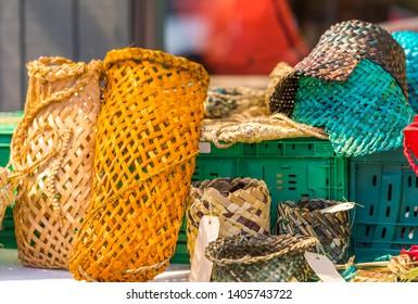 Woven bags on the market, Rarotonga, Aitutaki, Cook Islands. With selective focus