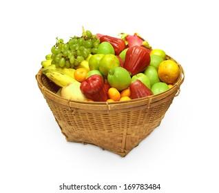 Woven basket full of different fruit.