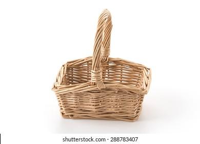 Woven basket on white background