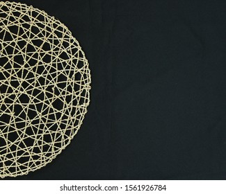 Woven circle on black background photo, Social Media Marketing text space