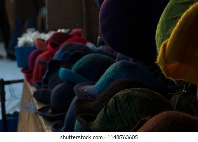 Woven colorful hats in winter