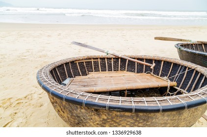 Woven Fisherman Bamboo Hull basket boats in Da Nang Vietnamese fishing landscape of Vietnam