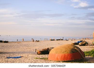 "Woven fishing ""boats"" along the white sand beach of My Khe in Da Nang city, Vietnam"