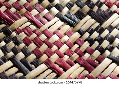 Woven flax (close up ) traditional Maori culture artwork New Zealand.