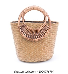Woven Handmade Bag for Women,Thai handicraft woman basketry isolate on white background
