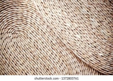 Woven Natural Fibers Rattan Placemats Close Up Texture