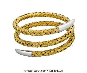 Woven spiralling spring gold and silver ladies bracelet isolated on a white background