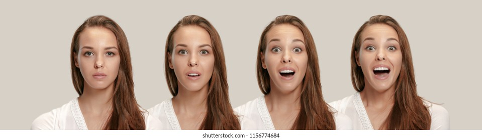 Wow. Collage about development of emotion. Stages of surprise. Female portrait isolated on gray. Young emotional surprised woman standing with open mouth. Human emotions, facial expression concept.