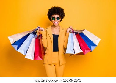 Wow omg 50% off! Portrait of surprised shocked brunette hair dark skin girl travel trip see sales black friday go shopping feel crazy wear style outfit  trousers isolated bright color background