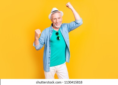 Wow omg hooray yeah! Close up photo portrait of handsome bearded stubble bristle toothy beaming smile guy granddad grandpa dancing jumping screaming isolated on bright vivid background