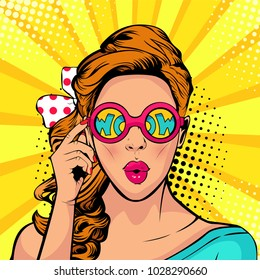 Wow pop art face of surprised woman open mouth holding sunglasses in her hand with inscription wow in reflection. Illustration in retro comic style.