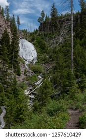 Wraith Falls on Summer Day in Yellowstone Wilderness