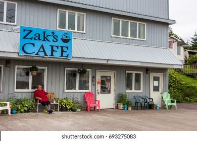 Wrangell, Alaska - USA - July 24, 2017: The Zak's Bar on Front St in the downtown of Wrangell, Alaska.