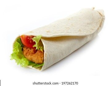 Wrap with fried chicken and vegetables isolated on a white background