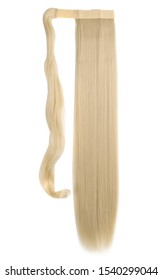 wrap round clip in wavy bleached blonde synthetic ponytail hair extension