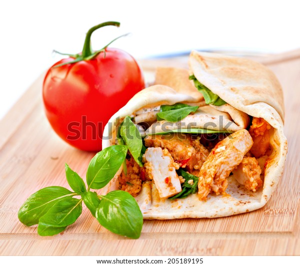 Wrap Sandwich Moroccan Style Couscous Chicken Stock Photo