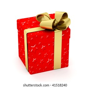 Wrapped christmas gift isolated over a white background