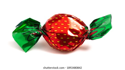 Wrapped Strawberry Candy in Decorative Foil Wrapper