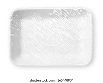 Wrapped styrofoam food tray isolated on white with clipping path
