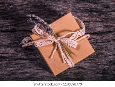 Wrapped vintage gift box with ribbon bow