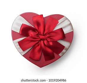Wrapped vintage heart gift box with red ribbon bow, isolated clipping mask on white background, top view, illustration for valentine's day or wedding