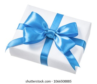 Wrapped white present box with blue bow isolated on white