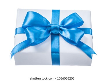 Wrapped white present box with blue knot isolated on white