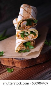 Wraps with chicken and fresh parsley