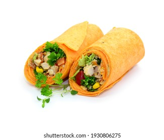 Wraps with vegetables and meat, isolated.