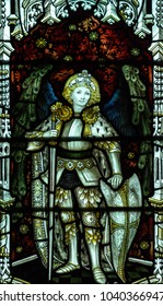 Wraxall, England - Feb 10, 2018: All Saints Church Stained Glass West Close up A, St George