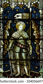 Wraxall, England - Feb 10, 2018: All Saints Church Stained Glass West Close up B, St George
