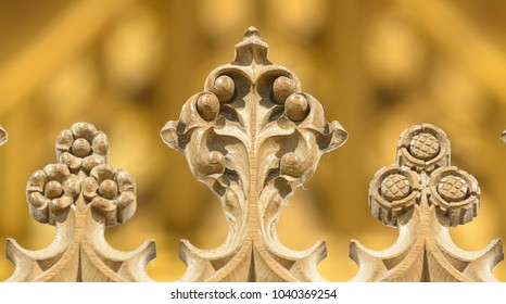 Wraxall, England - Feb 10, 2018: All Saints Church Decorated Details of Rood Screen