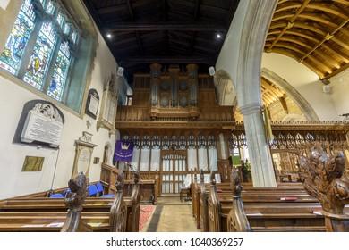 Wraxall, England - Feb 10, 2018: All Saints Church Organ, Religious Architecture