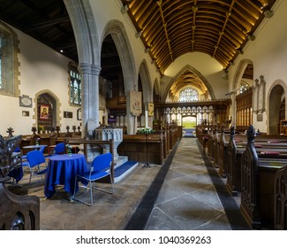 Wraxall, England - Feb 10, 2018: All Saints Church Nave B, Religious Architecture
