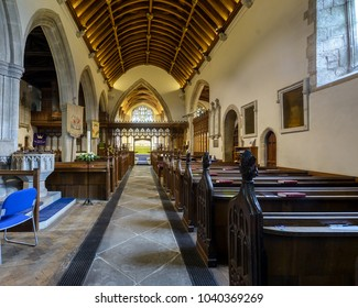 Wraxall, England - Feb 10, 2018: All Saints Church Nave C, Religious Architecture