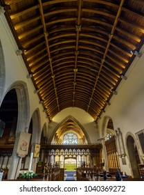 Wraxall, England - Feb 10, 2018: All Saints Church Nave Ceiling, Religious Architecture