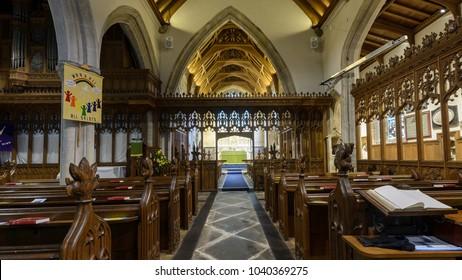 Wraxall, England - Feb 10, 2018: All Saints Church Nave A, Religious Architecture