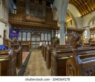 Wraxall, England - Feb 10, 2018: All Saints Church North Aisle, Religious Architecture