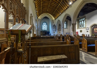 Wraxall, England - Feb 10, 2018: All Saints Church Lectern Nave, Religious Architecture