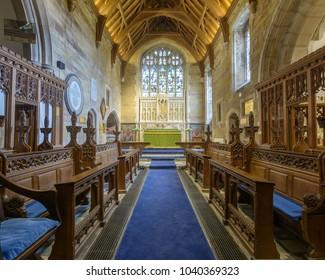 Wraxall, England - Feb 10, 2018: All Saints Church Chancel, Religious Architecture