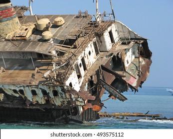 Wreak boat. Red Sea. Egypt