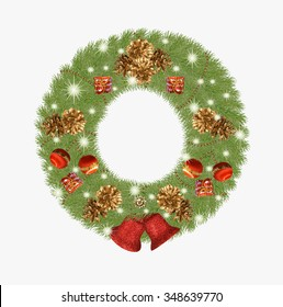 Wreath of Christmas tree with decoration.