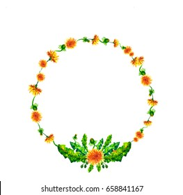 Wreath, circle frame with the watercolor flowers, dandelion fuzzies, hand drawn for wedding design, greeting card or invitation