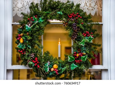 A wreath decorating a window on a northern Virginia street.