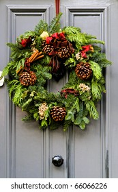 Wreath decoration at door for Christmas holiday