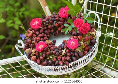Wreath of dried rose hips